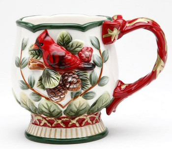 Evergreen Holiday Porcelain Mugs with Cardinal & Pine Cones, Set of 4