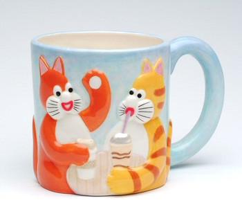 Two Tom Cats Chatting Mug, Set of 2