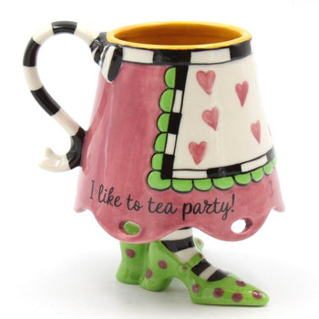 Dollymama's Pink Skirt Ceramic Mugs by Joey, Set of 2