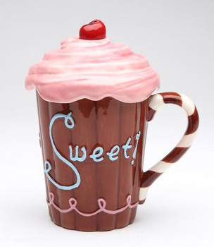 Life is Sweet Mug with Pink Cover Lid, Set of 2