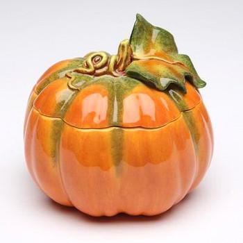 Porcelain Pumpkin Jars, Set of 2