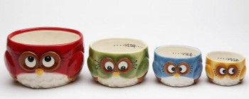 Christmas Owl Bird Measuring Cups by Laurie Furnell, Set of 4