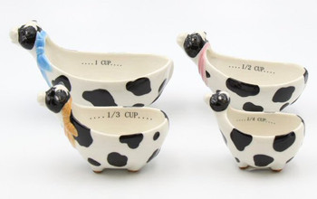 Cow Porcelain Measuring Cups, Set of 4