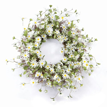 "23"" White Daisy Flower Silk Wreath"