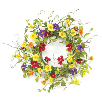 "20"" Summer Garden Trumpet Flower Silk Wreath"