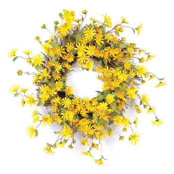 "23"" Yellow Daisy Flower Silk Wreath"