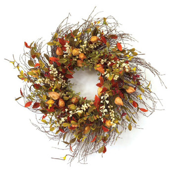 "20"" Cape Gooseberry Silk Wreath"