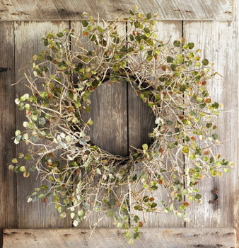 "26"" Birch Branch Silk Wreath with Mini Leaves"