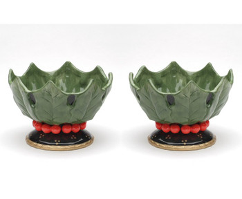 Holly Leaf and Berries Candy Dish, Set of 2