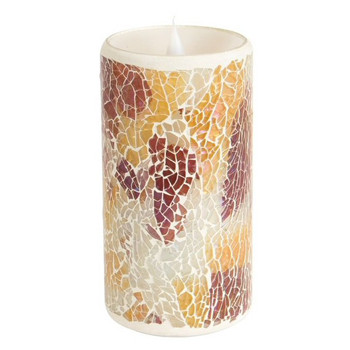 "3"" x 6"" Simplux LED Mosaic Candles with Moving Flame, Set of 2"