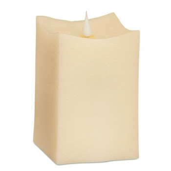 "3.5"" x 5"" Simplux LED Ivory Square Candles with Moving Flame, Set of 2"