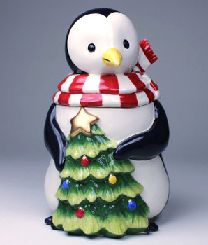 Penguin with Christmas Tree Porcelain Candy Jar