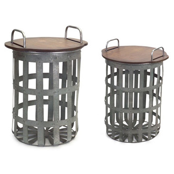 Rustic Baskets Metal & Wood Side Tables, Set of 2
