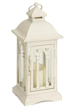 """12.25"""" Cream LED Candle Lanterns Candle Holders, Set of 2"""