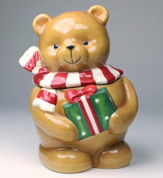 Teddy Bear Holding a Present Porcelain Candy Jar