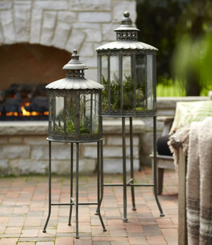 Metal Candle Lanterns Candle Holders with Stands, Set of 2