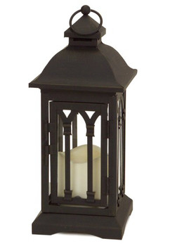 "12.25"" Loop Black LED Candle Lanterns Candle Holders, Set of 2"