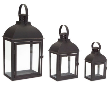 Black Shadow Iron Candle Lanterns Candle Holders, Set of 3