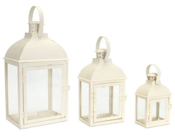White Shadow Iron Candle Lanterns Candle Holders, Set of 3