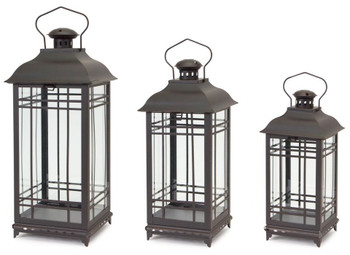 Graceful Metal Candle Lanterns Candle Holders, Set of 3