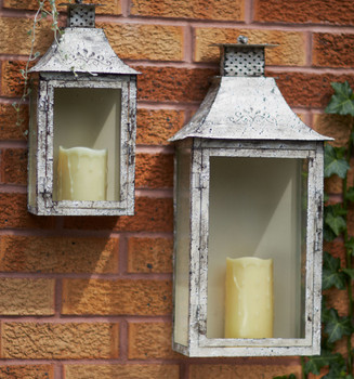 Antique Cream Iron Wall Candle Lanterns Candle Holders, Set of 2