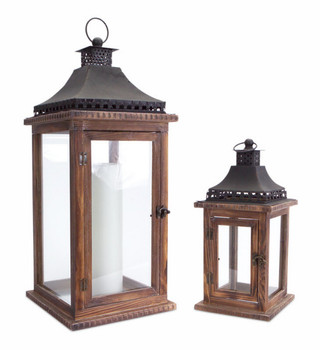 Brown Black Wood Iron Glass Candle Lanterns Candle Holders, Set of 2