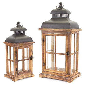 Totem Wood and Metal Candle Lanterns Candle Holders, Set of 2