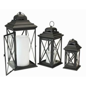 Black Iron Candle Lanterns Candle Holders, Set of 3