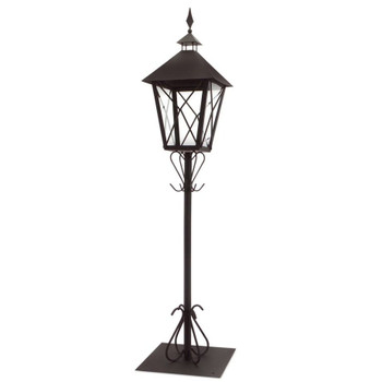 "67"" Black Iron Candle Lantern Candle Holder with Post"