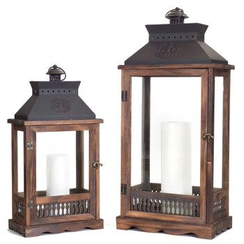Odessa Wood and Metal Candle Lanterns Candle Holders, Set of 2