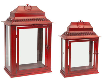 Beam Metal Candle Lanterns Candle Holders, Set of 2