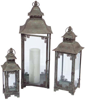 Antique Grey Rectangle Candle Lanterns, Set of 3