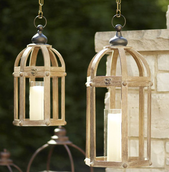 Simple Hanging Wood and Metal Candle Lanterns Candle Holders, Set of 2