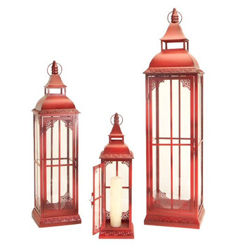 Red Rising Metal Candle Lanterns with Ring Top, Set of 3