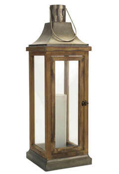 "39.5"" Lily Metal and Wood Candle Lantern Candle Holder"