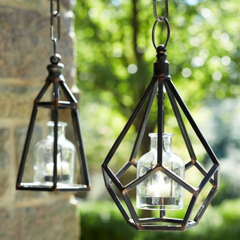"""10.5"""" Rustic Hanging Tea Light Candle Holders with Glass, Set of 2"""