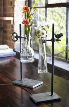 Glass Stem Vases with Bird & Key Design Metal Stands, Set of 2