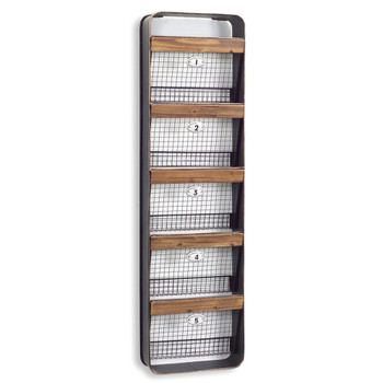 5 Numbered Wire Baskets Wall Rack Bin