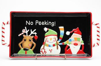 No Peeking Reindeer Snowman Santa Serving Platter with Handles