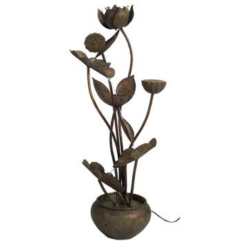 "30"" Leaf Design Copper Metal Outdoor Fountain"