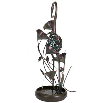 "46"" Crane Bird Copper Metal Outdoor Fountain"