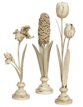 Standing Flower Sculptures, Set of 3