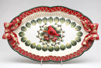 Evergreen Holiday Porcelain Serving Platter w/ Cardinal and Pine Cones