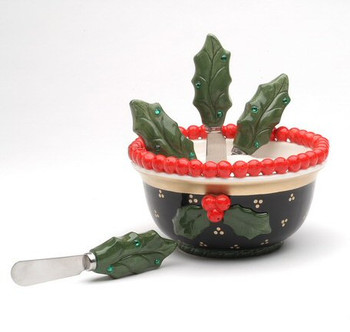 Holly and Berries Ceramic Spreader Set, Set of 5