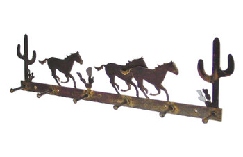Stampede Horse 6 Hook Metal Coat Rack