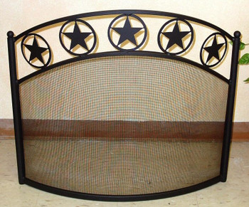 Western Star Bowed Metal Fireplace Screen