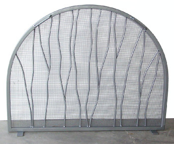 Branch Flat Metal Fireplace Screen with Arched Top