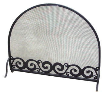 Scroll Flat Metal Fireplace Screen with Arched Top