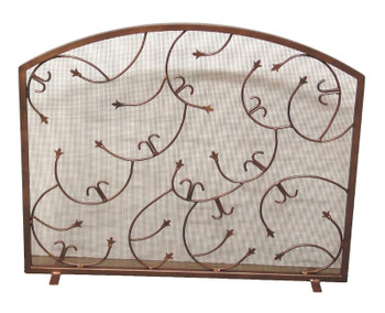 Mediterranean Flat Metal Fireplace Screen with Arched Top