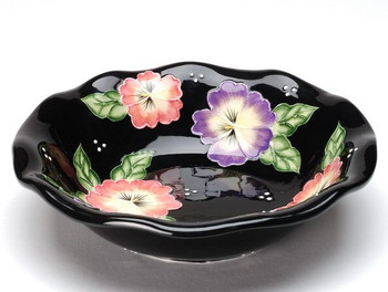 Pansy Flower Soup Bowl, Set of 4